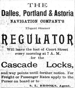 Regulator (sternwheeler) - Early advertisement for Regulator, placed September 19, 1891.