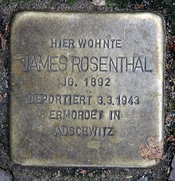 Photo of James Rosenthal brass plaque