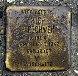Photo of Erich Hirschweh brass plaque