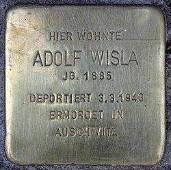 Photo of Adolf Wisla brass plaque