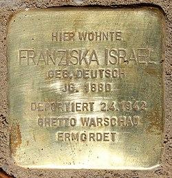 Photo of Franziska Israel brass plaque