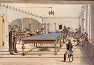 Cue sports - Illustration of a three-ball pocket billiards game in early 19th century Tübingen, Germany, using a table much longer than the modern type.