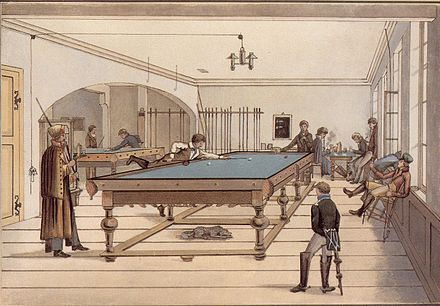 Illustration of a game of three ball pocket billiards in early 19th-century Tübingen, Germany - Snooker