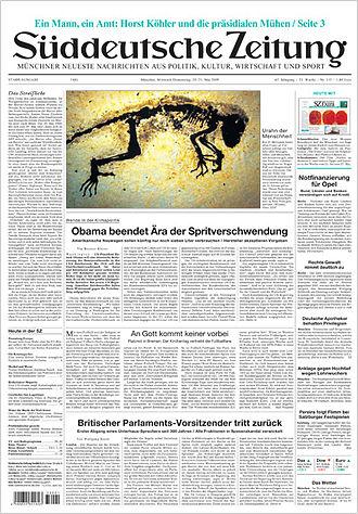 Süddeutsche Zeitung - The 20 May 2009 front page of Süddeutsche Zeitung