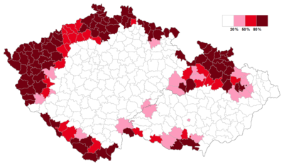 Czech districts with 50% or more ethnic German population in 1935 Sudetendeutsche.png