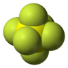 Space-filling model of sulfur hexafluoride