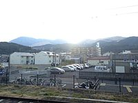 Sunset from platform of Kamegawa Station 2.JPG