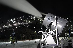 Snowmaking - Snow production at Camelback Ski Area, United States.