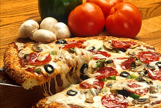 Italian-American cuisine - Italian-American pizza with pepperoni, mushrooms, olives and peppers