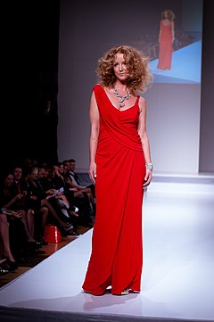 Susan Haskell wearing David Dixon - Heart and Stroke Foundation - The Heart Truth celebrity fashion show - Red Dress - Red Gown - Thursday February 8, 2012 - Creative Commons.jpg