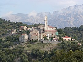 The church and surrounding buildings, in Soveria
