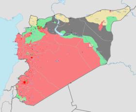 Carte de la guerre civile syrienne le 16 mars 2014[1] rouge : zone