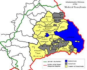 Count of the Székelys - Székely Land (in blue) in Transylvania within the medieval Kingdom of Hungary