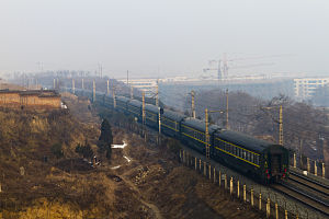 New Eurasian Land Bridge -  Chinese Railway T165 train near Weinan Station