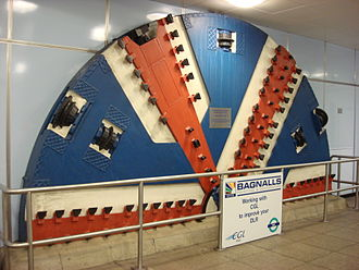 Cutty Sark for Maritime Greenwich DLR station - Image: TBM Cutter Head at Cutty Sark DLR station