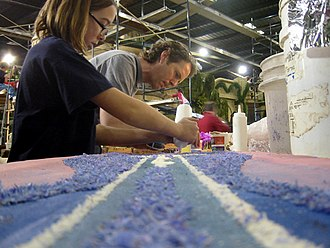 Float (parade) - Volunteers working on the 2007 Star Wars floats