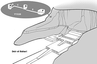 DB320 - The location of the tomb above the Mortuary Temple of Hatshepsut at Deir el-Bahari