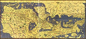 Azerbaijan (Iran) - The Tabula Rogeriana, drawn by Muhammad al-Idrisi for Roger II of Sicily in 1154. Azerbaijan in south west of Caspian sea. South is towards the top.