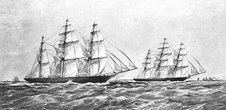 Great Tea Race of 1866 - Taeping and Ariel racing up the Channel