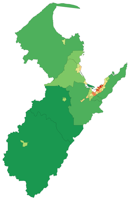 A map showing population density in the Nelson Region at the 2006 census TasmanNelsonRegionPopulationDensity.png