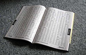Telephone directory - White pages.