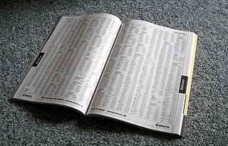 Telephone directory book that has lists of phone numbers of people and businesses