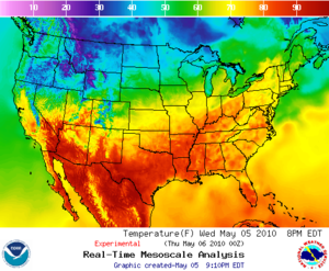 Temperatures in the USA, mesoscale analysis