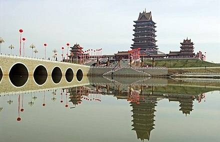 The Temple of the Mother Goddess of the Yellow River (Huang He Nu Shen Huanghe Nushen), a folk religious focus of a new residential suburb of the city of Qingtongxia, Ningxia, is possibly one of the biggest temples in China. Temple of the Mother Goddess of the Yellow River in Qingtongxia, Ningxia.jpg