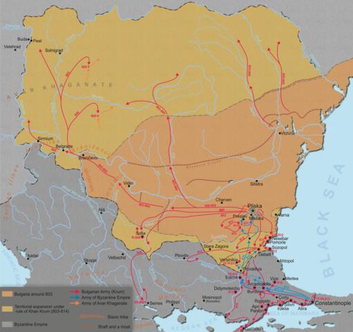 Krum és barátainak turista útvonalai - Forrás: Wikipédia