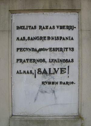La Raza - Image: Texto del Monumento a La Raza en Sevilla