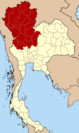 Northern Thailand according to the four-region grouping system Thailand North.png