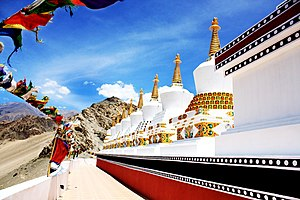 Ladakh - The 9 Stupas at Thiksey Monastery