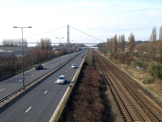 The A63 and Main Railway Line into Hull