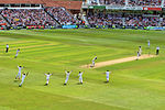 The Final Wicket Falling at The Ashes 2015.jpg