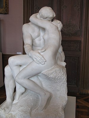 The Kiss, Auguste Rodin's sculpture in marble ...