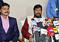 The Minister of State for Social Justice & Empowerment, Shri Ramdas Athawale addressing the media after reviewing the programmes implemented by the Government of Tamil Nadu, in Madurai.JPG
