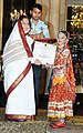 The President, Smt. Pratibha Devisingh Patil presenting the National Child Award to Pallavi Upadhyaya of Rajasthan, on the occasion of Children's Day, at Rashtrapati Bhavan, in New Delhi on November 14, 2010.jpg