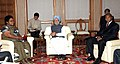 The Prime Minister, Dr. Manmohan Singh meeting the Vice-President, Zimbabwe, Ms. Joice Mujuru and the Prime Minister of Central African Republic, Prof. Faustin Archange Tauadera, in New Delhi on March 20, 2012.jpg