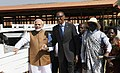 "The Prime Minister, Shri Narendra Modi donates 200 cows under ""Girinka"" (one cow per poor family programme), at Rweru Model village, in Rwanda on July 24, 2018. The President of Rwanda, Mr. Paul Kagame is also seen (2).JPG"