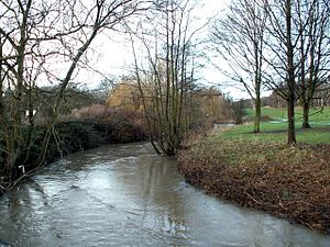 River Dearne - The River Dearne viewed from the bridge behind Darton Post Office.