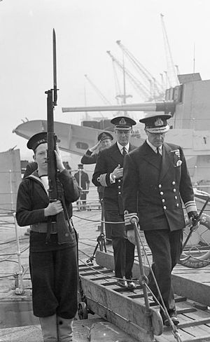 William Whitworth - Vice-Admiral Whitworth, the Second Sea Lord, coming ashore after inspecting HMS VANESSA at the port of Liverpool