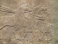 The Royal lion hunt reliefs from the Assyrian palace at Nineveh, preparing for the hunt, about 645-635 BC, British Museum (12254803995).jpg