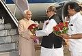 The Vice President, Shri Mohd. Hamid Ansari being received by the Governor of Maharashtra, Shri K. Sankaranarayanan, at Mumbai Airport on November 23, 2013.jpg
