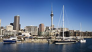 The Westhaven Bay harbor, sailboats and the Skytower, Auckland - 0301.jpg