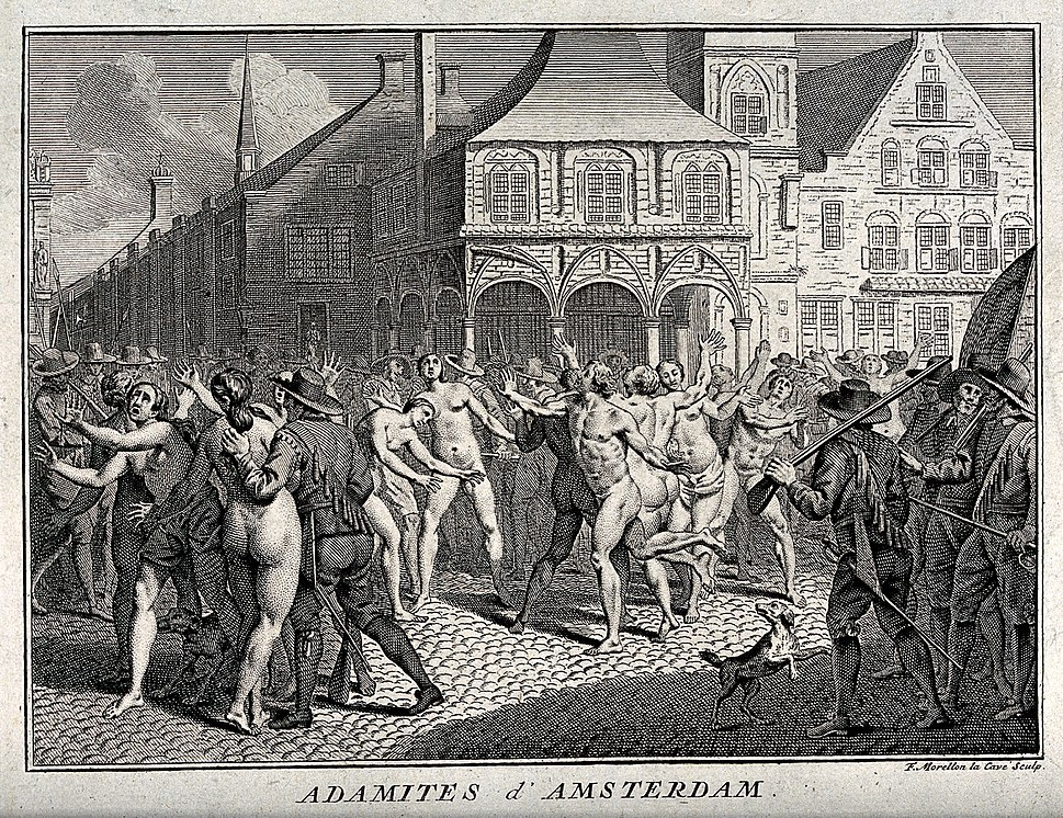 The arrest of Adamites in a public square in Amsterdam. Etch Wellcome V0035701