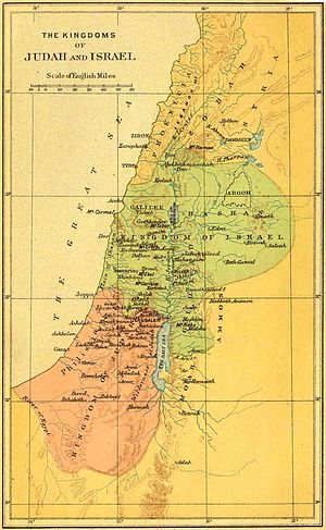 Rehoboam - The United Kingdom of Solomon breaks up, with Jeroboam ruling over the Northern Kingdom of Israel (in green on the map).