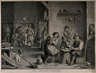 Pierre-Etienne Moitte - Engraving after David Teniers II