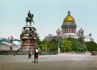 Peter Clodt von Jürgensburg - Image: The monument to Nicholas I on St Isaac's Square 1890 1900