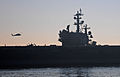 The nimitz-class aircraft carrier USS Ronald Reagan (CVN 76) passes historic Point Loma, Calif., as it transits San Diego Bay, Calif., while returning to its homeport after a regularly scheduled underway, Nov 111116-N-ZS026-200.jpg