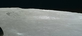 Theophilus (crater) - Oblique view of Theophilus from Apollo 16 as the lunar module Orion approached its landing point about 450 km to the west